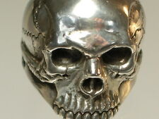 Skull Ring Mid-size half jaw silver mens ring skull biker masonic jewelry 925