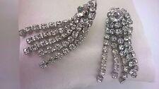 Vintage Jewellery Gorgeous Art Deco Rhinestone Drop Dangle Clip On Earrings