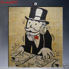 Hand Painted Oil Painting Wall Art on Canvas Alec Monopoly Listen to the music