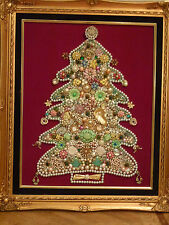 VTG FRAMED COSTUME JEWELRY CHRISTMAS TREE PIN ART RHINESTONES BROOCH PICTURE