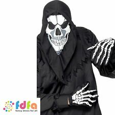 SKELETON MASK HOOD & GLOVES adults mens halloween fancy dress costume accessory