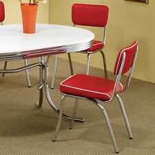 Red Retro Dining Chair 2 Pack 50's Diner Chrome Kitchen Furniture Cushion Seat