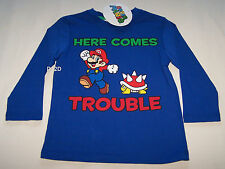 Nintendo Super Mario Boys Blue Long Sleeve T Shirt Size 3 New