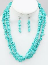 Three Strand Turquoise Stone Chips Necklace Earring Set