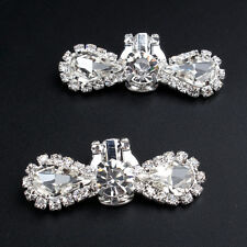 Vintage Rhinestone Crystal Wedding Bridal Silver Tone Shoe Clips Pair Sparkle