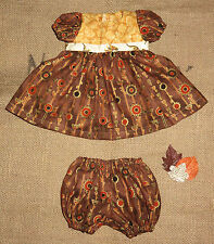 """Handmade Doll Clothes for 20"""" - 22"""" Baby Dolls """"Wow"""" Brown & Gold Dress Set"""