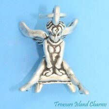 GUARDIAN ANGEL GYMNAST ON VAULT 3D .925 Solid Sterling Silver Charm GYMNASTICS