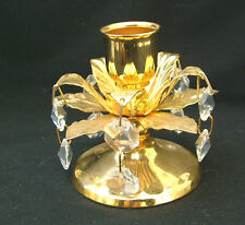 Brass candlestick with crystal pendants