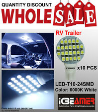 JDM 10x T10/921/194 White RV Trailer Interior 12V LED Light Bulbs 24 SMD