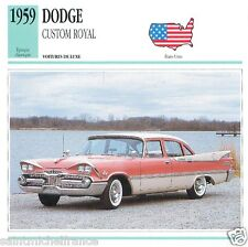 DODGE CUSTOM ROYAL 1959 CAR VOITURE UNITED STATES ÉTATS UNIS CARD FICHE