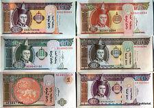 MONGOLIE SERIE DE  6 billets NEUFS  CHEVAUX   BATAAR GENGIS KHAN