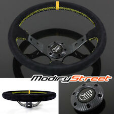 350mm DEEP DISH DRIFTING JDM RACING SUEDE SPORT STEERING WHEEL YELLOW UNIVERSAL