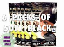 LOTS OF 6 PKS QFITT MESH DOME STYLE WIG MAKING CAP MESH & TIGHT BAND #5011 BLACK