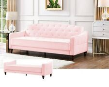 Vintage Sofa Couch Bed Tufted Sleeper Living Room Futon Lounger Convertible Pink