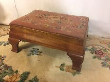 Foot Stool Antique Queen Anne Style Embroidered Cover.C8Pix4Size/etc &MAKE OFFER