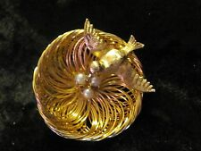 Gorgeous Vintage Bird & Wire Nest Faux Pearl Eggs  Pin Brooch