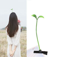 Hot 2PCS Funny Bean Sprout Antenna Green Plant Hairpins Hair accessories Unisex