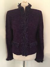 NWT $1995 ST JOHN Couture Purple Boucle Fringe Jacket Sz 10 M L New With Tags