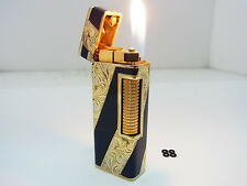 DUNHILL Rollagas Lighter Roy King 18K Gold Blue Enamel Lacquer Hand Carving Swis