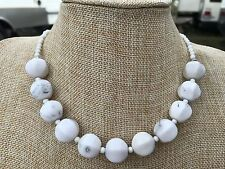 Chunky White Jasper and Chalk Turquoise Handmade Beaded Choker Necklace w Pewter