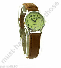 Ladies Watch, Easy Read Glow in The Dark Dial, Brown Leather Strap, By Mabz