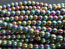 20 x 10mm Rainbow Coloured Non-Magnetic Hematite Round Beads (GB1002)
