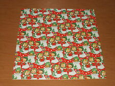 VTG CHRISTMAS WRAPPING PAPER GIFT WRAP SINGING ANGELS ON RED WITH LANTERN