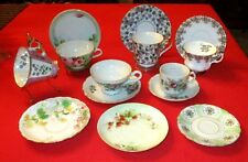 MIXED LOT OF 18 VINTAGE FINE CHINA CUPS & SAUCERS & STANDS NIPPON OCC JAPAN ENGL