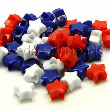 Lot of 300 Red, White and Blue 11mm Star Shaped Plastic USA Novelty Pony Beads