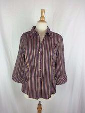 GEORGE Woman Purple Green Tan Stripe Stretch Cotton Shirt Top Size XL 16 18 NWOT