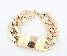 Fashion Women Punk Style Gold Plated Metal Chunky Link Chain Bracelet
