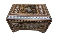 Handcrafted Ottoman Turkish Tughra Mother of Pearl Inlaid Wood Chest Box Trunk