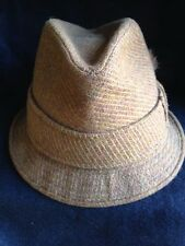 Vintage CHAMP Wool Tweed  Fedora Hat with Feathers and Horse Pin 50's 60's