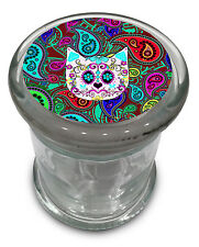 """Paisley Cat Glass Jar w/ lid Air Tight Seal Container 4.5"""" Mod style Cute Kitten"""