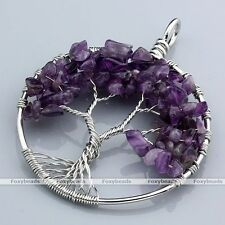 1x Amethyst Tree Of Life Life-tree Gems Chip Bead Wire Wrap Pendant fit Necklace