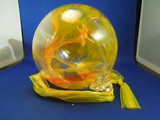 Hand Blown Glass Ball Giant Ornament Orange Clear Heavy Decoration Studio Art