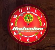 Vintage Budweiser King Of Beers Lighted Electric Wall Clock Sign Anheuser Busch