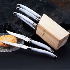 6pcs Stainless Steel Knives Laguiole style Steak Knife Set w/White handle Dinner
