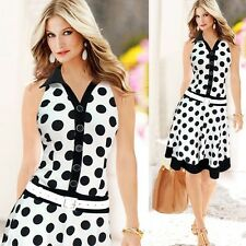 Party Dress Womens Dresses Sleeveless Dresses Slim Midi Dress Polka Dot Dress V