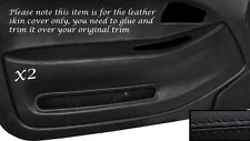 BLACK STITCH 2X FRONT DOOR CARD TRIM SKIN COVERS FITS HONDA CIVIC COUPE 92-95