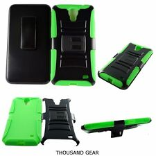 For Alcatel One Touch Pop Mega LTE A995L Kickstand Clip Holster Case Green Black