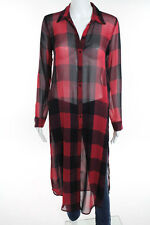 Zara Woman Red Black Plaid Long Sleeve Button Down Tunic Top Size Extra Small