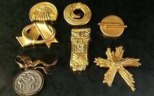 Lot of 7 Greek Jewelry Brooches Pin Lot Greece handmade Krisa Gold Nice