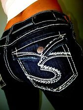 Buckle SILVER SUKI FLAP Crystal Studded Boot Cut Mid-Rise Jeans 28 FIT 27 x 30