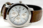 Casio MTP1192E-7A Men's 3 Dials Analog Watch Leather Band White Face Brand New