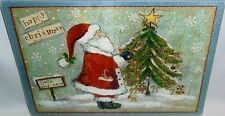 "Glass Cutting Board  SANTA DECORATING TREE  11 3/4"" X 7 3/4"""