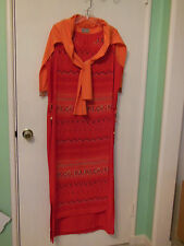 J. MARCO DRESS WOMEN'S 16W LONG MAXI BEAD TRIM SHRUG SHAWL ORANGE RED SLEEVELESS
