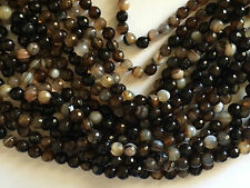 """15"""" STRAND AAA 8MM ROUND FACETED BROWN STRIPE AGATE BEADS"""