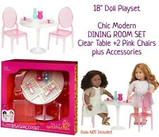 "18"" Doll DINING ROOM Clear Table+Chairs+Accessories Set Fits American Girl House"