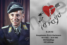 aviation art luftwaffe pilot photo postcard Erich Hartmann colour WW2 JG 52